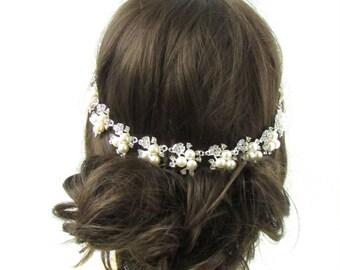 Silver Ivory White Pearl Bridal Headpiece Vintage Wedding Hair Vine Diamante 446
