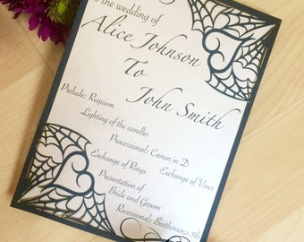 Spiderweb gothic wedding programs pocket laser cut halloween stationery