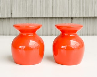 Vintage MOD orange, TAKAHASHI-style, lacquered salt and pepper shakers