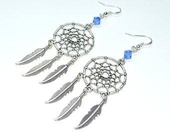 Sapphire Blue Dream Catcher Earrings - Sterling Hooks - Swarovksi Crystal