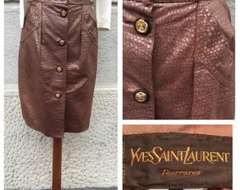 80s Yves Saint Laurent Fourrures Pork Skin Skirt Size M
