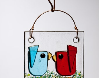 Red and Aqua Kissing Birds Fused Glass Suncatcher Ornament