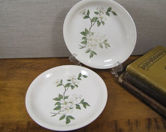 Debutante by Homer Laughlin - Bread and Butter Plates - White Dogwood Blossoms - Set of Two (2)