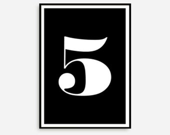 number five print etsy