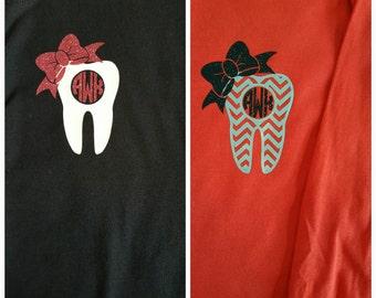 RDH Tooth Short or Long Sleeve Shirt, Dental Hygienist Shirt, Monogrammed RDH Shirt, RDH Graduation Gift, Dental Assistant Shirt