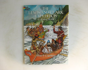 Lewis and Clark Expedition Coloring Book, Dover 1983, Vintage Coloring Books, Social Studies Coloring Book