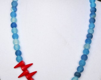 Blue Frosted and Red Dragons Statement Necklace - Beautiful Contrast and Design