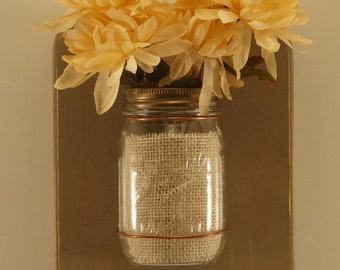 Mason Jar Wall Sconce/Distressed Finish/Tan/16oz. Jars/Set of 2
