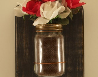 Mason Jar Wall Sconce/Distressed Wood/Black/16oz. Jars/Set of 2