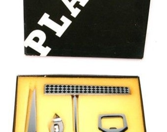 Playboy Barware Set Collectible Vintage 4 Piece Barware Set Stainless Steel / Teak Wood In Original Box, Made In Japan
