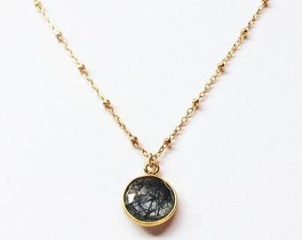 Luna Necklace // Gold Fill // Gold Necklace, Rutilated Quartz Necklace
