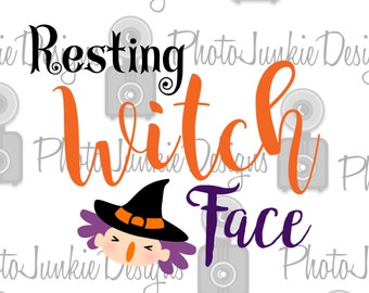 Cuttng File Resting Witch Face  SVG PNG  DXF digtal Files