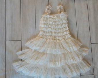 Ivory Lace  flower girl,petti dress