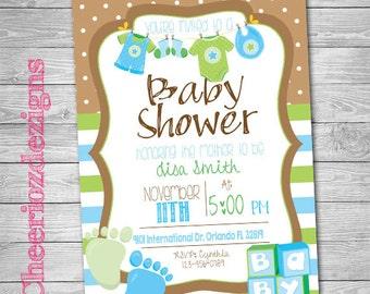 Baby Boy Baby Shower- Baby Boy - Baby Shower Invitation- Digital File - Customizable