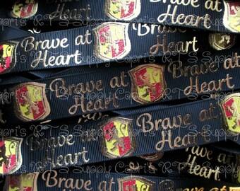 "7/8"" Wizard Inspired Grosgrain Ribbon Brave At Heart Black US Designer Ribbon"