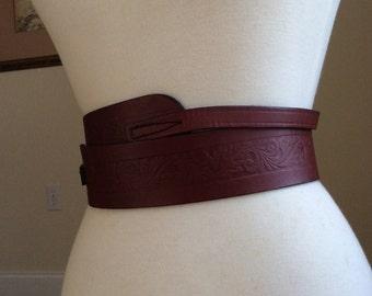 Vintage Brown Leather Wrap and Tie Belt