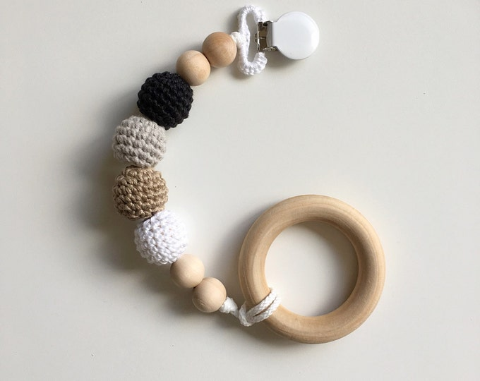 NomiLu Crocheted Beads Pacifier Clip -- Eco-friendly pacifier clip -- crocheted wooden beads -- Baby Teether