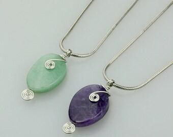 Jade/Amethyst pendant, gems beaded necklace, choker, handmade