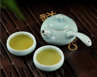 Chinese Porcelain Tea Set, Longquan Longquan Celadon Ceramic Teapot and Tea Cups, Tea Ceremony Gift Free Shipping