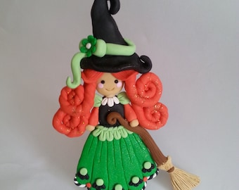 Handcrafted Polymer Clay Whimsical Halloween Witch Ornament Decoration - Fall and Halloween Decor