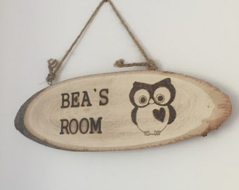 Rustic Wooden Personalised room name sign