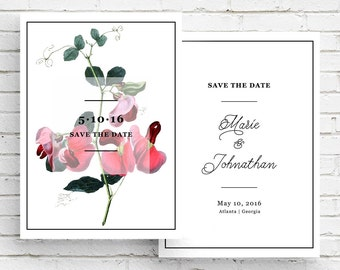 Pink Lathyrus Flower Vintage Botanical Illustration Save the Date