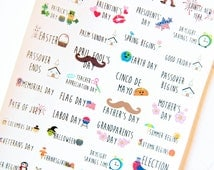 MATTE 40 Holiday Celebration Stickers - Planner Stickers for Erin Condren Life Planners