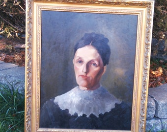 Antique Original Oil Painting Portrait Young Woman 19th century