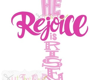 EXCLUSIVE Rejoice He Is Risen Cross SVG and DXF File