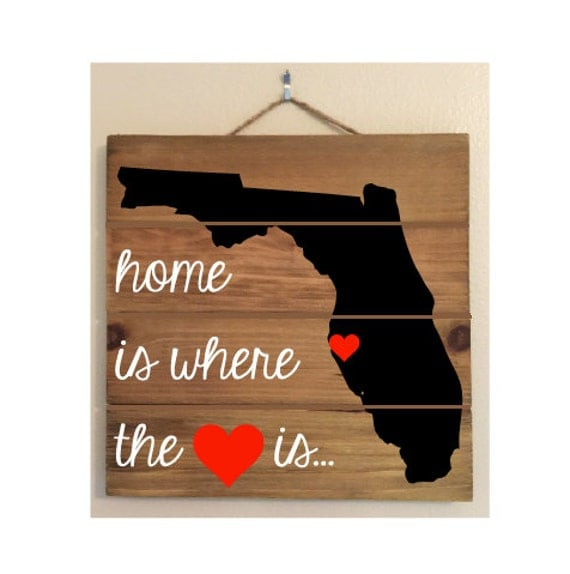 Home Is Where The Heart Is Custom Wood Sign (all states available!)
