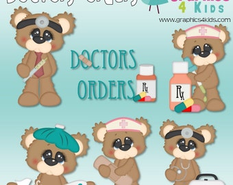 Doctors Orders Digital Clipart - Clip art for scrapbooking, party invitations - Instant Download Clipart Commercial Use