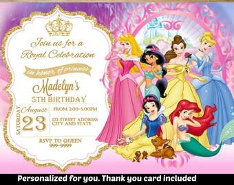 SUMMER SPECIAL- Princess Birthday Invitation,Princess Invitation,Princess Invite,Birthday Invitation,Princess