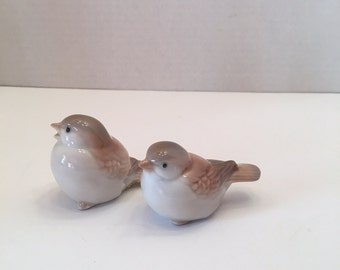 Vintage Homco Birds Set of Two Cream Tan and Gray Made in Japan