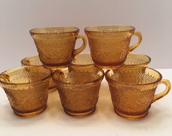 Indiana Glass Tiara Amber Cups ~ Set of Eight ~ Tiara Pressed Sandwich Glass ~ Punch Cup ~ Drinking Glass