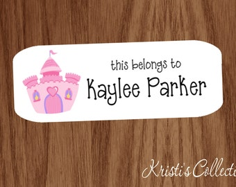 This belongs to Labels Stickers - Girls Teacher Custom Personalized Back to School Gift - Castle - Label School Supplies, Books