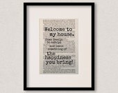 """Dracula - Book Quote Print - Welcome Sign - Housewarming Gift - Birthday Gift - New Home Decor - Christmas Gift - """"Welcome to my house"""""""