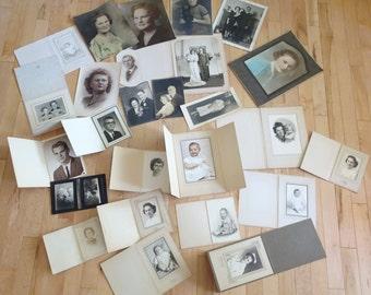 Vintage Lot Studio Photographs in Cardboard Frames   Vintage Photos   Vintage Family Black and White Photos   Vintage Movie Prop Post Cards