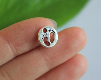 wholesale-30pcs   Baby Feet Charms Antique Silver Tone Baby Foot Print Charms 11*11mm
