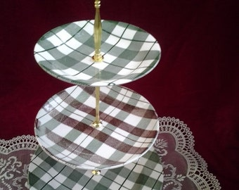 20% OFF Wedding Cake Stand, 3 Tier Cake Stand, China Vintage, Green Cake Stand,Cupcake Tower, Plaid china, 3 Tier tidbit tray
