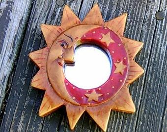 Hand painted Moon/ sun Mini mirror