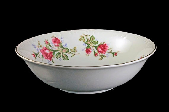 Vegetable Bowl, Grant Crest, Royal Rose, Fine China, Made in Japan, Embossed Edge, Gold Trimmed, Serving Bowl