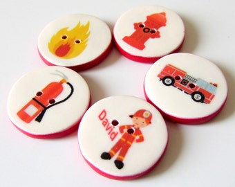 Fireman Buttons - Firefighter buttons - handmade buttons - cute kids buttons - personalized with name - personalized firefighter buttons