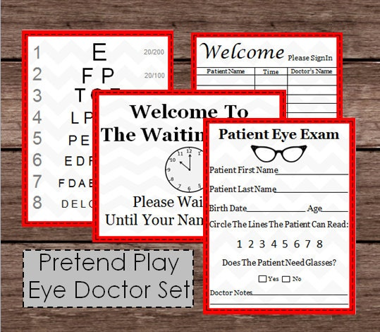 Pretend Doctor Eye Chart & Patient Exam Check Up Kids Doc