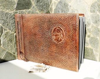 Rare Dark Brown Genuine Leather Embossed Album Pictures, Retro Leather Photo Album, Vintage Tooled Leather Photos Cover, luxury photo album