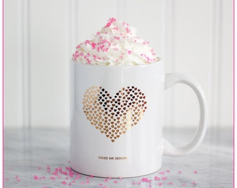22 Karat Gold Heart Mug, makeup mug, Girly Coffee Mugs, Cute Glam gifts for her, Chic gifts, Gold Love mug, friendship heart mug