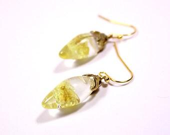 chandelier earrings yellow earrings gold drop earrings gifts/for/mom short earrings/for/girl real flower earrings yellow gift 14k gold Кю24
