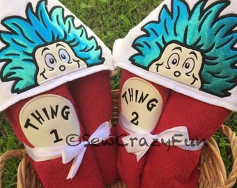 Thing one OR thing two embroidered hooded towel bath/pool/beach