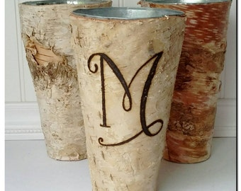 Birch Vase, Hand Engraved,  monogram/ one letter SASBV100