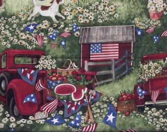 Patriotic Pickup Curtain Valance Blue Red Green Barn Dog