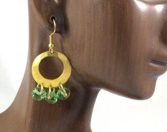 Personalized Matte Gold Earrings, Dangle Hoop Earrings, Crystal Dangle Earrings, Chandelier Earrings, Gold Finish Earrings, Boho Earrings,